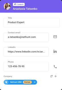 NetHunt контакти